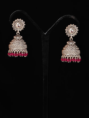 Pair of Classic Jhumki Silver Earrings