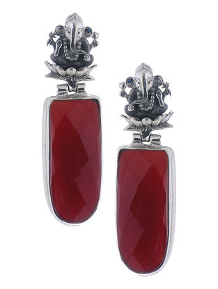 Red Silver Earrings with Lord Ganesha Design