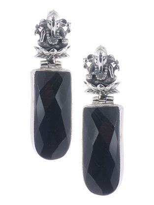 Black Silver Earrings with Lord Ganesha Design
