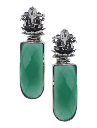 Green Silver Earrings with Lord Ganesha Design