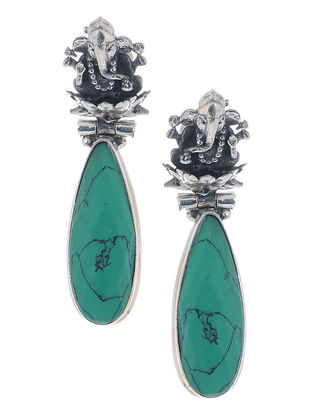 Turquoise Silver Earrings with Lord Ganesha Design