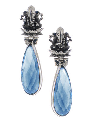 Blue Silver Earrings with Lord Ganesha Design
