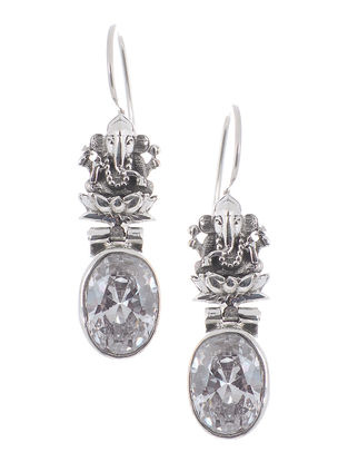 Crystal Silver Earrings with Lord Ganesha Design