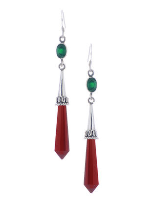 Classic Red-Green Silver Earrings