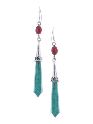 Classic Turquoise-Red Silver Earrings