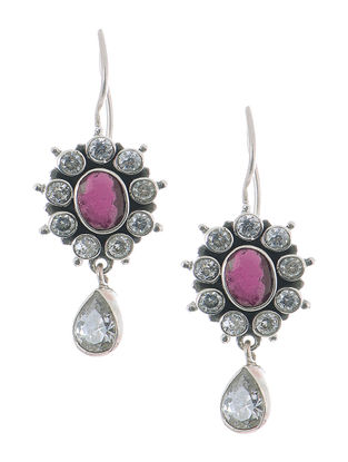 Pink Silver Earrings with Floral Design