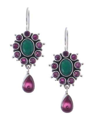 Pink-Green Silver Earrings with Floral Design