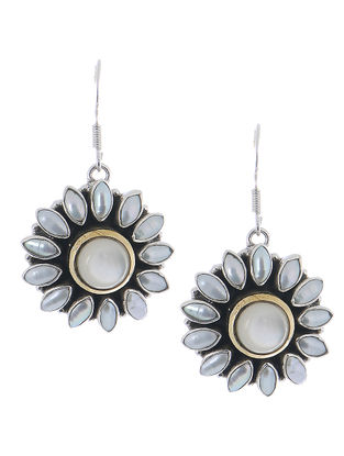 White Pearl Silver Earrings with Floral Design