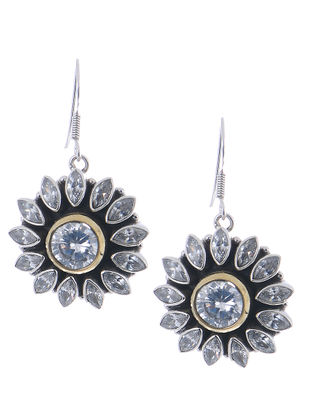 Silver Earrings with Floral Design