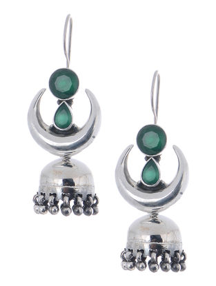 Green Silver Jhumkis with Crescent Design