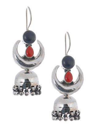 Blue-Red Silver Jhumkis with Crescent Design