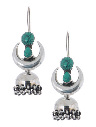 Turquoise Silver Jhumkis with Crescent Design