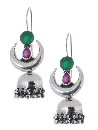 Pink-Green Silver Jhumkis with Crescent Design