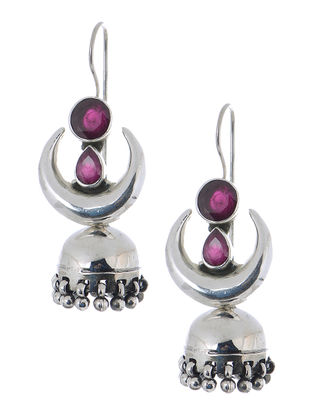 Pink Silver Jhumkis with Crescent Design