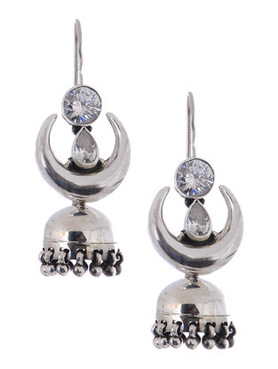 Crystal Silver Jhumkis with Crescent Design