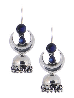 Blue Silver Jhumkis with Crescent Design