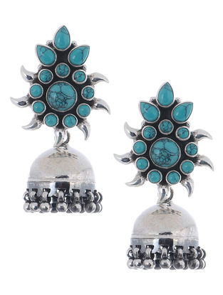 Turquoise Silver Jhumkis with Floral Design