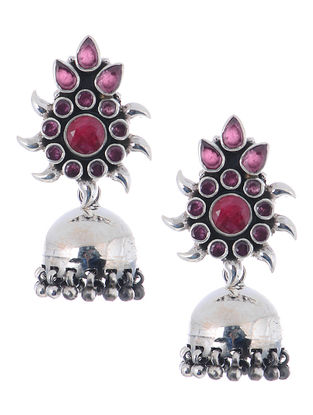 Pink Silver Jhumkis with Floral Design
