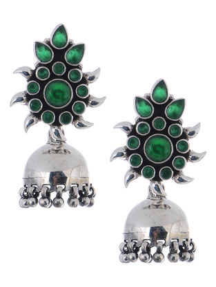 Green Silver Jhumkis with Floral Design