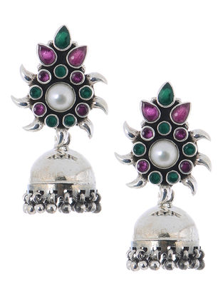 Pink-Green Silver Jhumkis with Floral Design