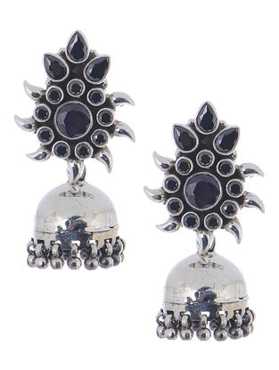 Black Silver Jhumkis with Floral Design