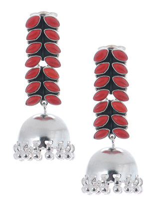 Red Silver Jhumkis with Fern Stripe Design