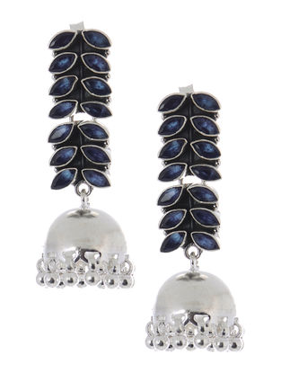 Blue Silver Jhumkis with Fern Stripe Design