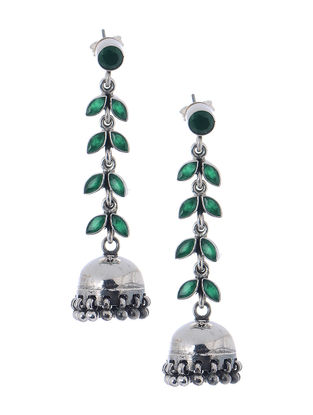Green Silver Jhumkis with Fern Stripe Design