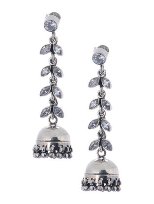 Crystal Silver Jhumkis with Fern Stripe Design