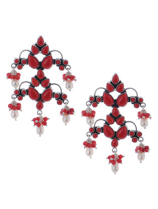 Classic Red Silver Earrings with Pearls