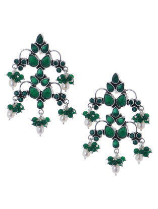 Classic Green Silver Earrings with Pearls