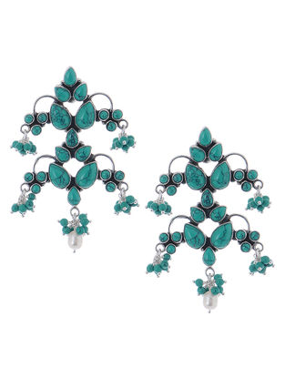 Classic Turquoise Silver Earrings with Pearls
