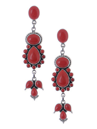 Classic Red Silver Earrings
