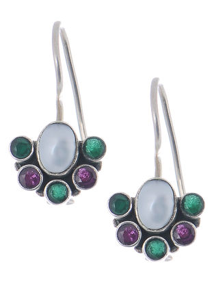 Classic Pink-Green Silver Earrings with Pearl
