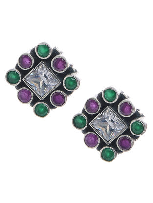 Classic Pink-Green Silver Earrings