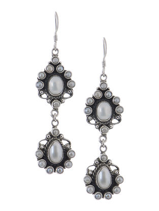 Classic White Pearl Silver Earrings