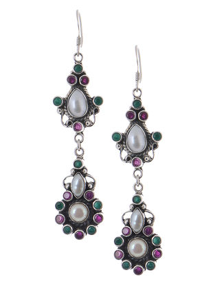 Classic Pink-Green Silver Earrings with Pearls