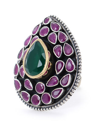 Pink-Green Silver Adjustable Ring