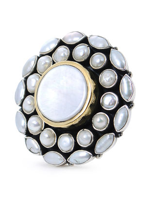 White Pearl Silver Adjustable Ring with Floral Design