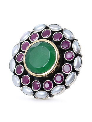 Pink-Green Pearl Silver Adjustable Ring with Floral Design