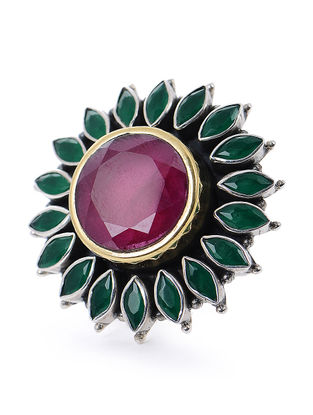 Pink-Green Silver Adjustable Ring with Floral Design