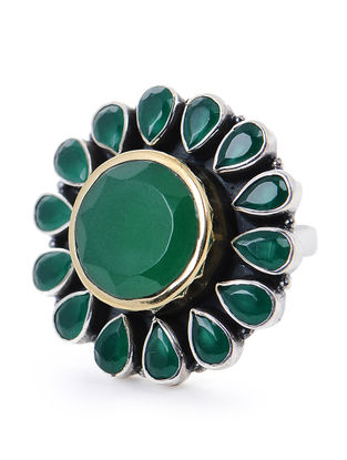 Green Silver Adjustable Ring with Floral Design