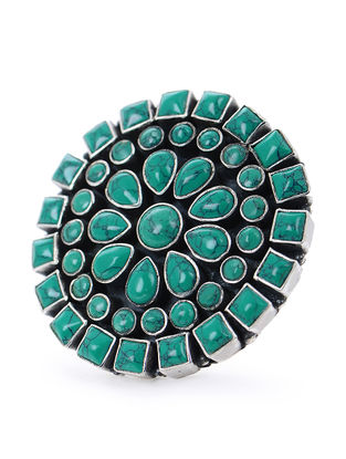Turquoise Silver Adjustable Ring with Floral Design