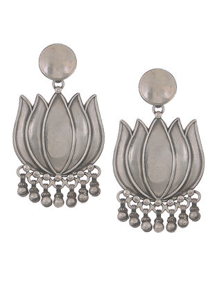 Classic Silver Earrings with Lotus Design