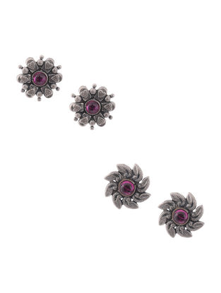 Pink Silver Earrings with Floral Design (Set of 2)