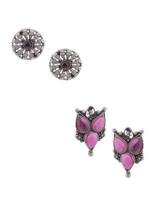Pink Silver Earrings (Set of 2)