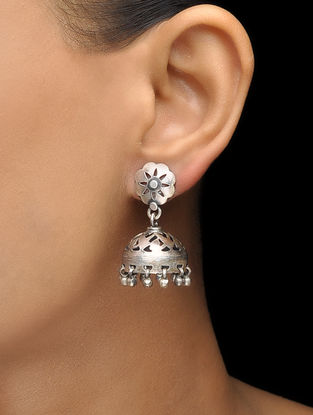 Classic Silver Jhumkis with Floral Motif