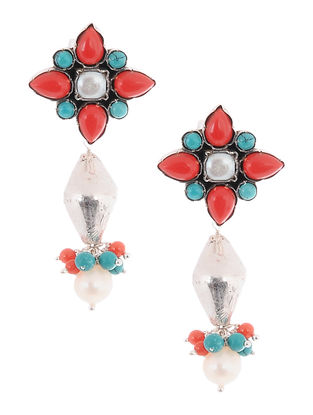 Turquoise-Coral Pearl Drop Silver Earrings