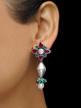 Pink-Green Pearl Drop Silver Earrings