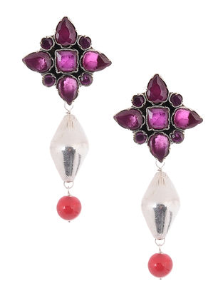 Pink-Red Silver Earrings